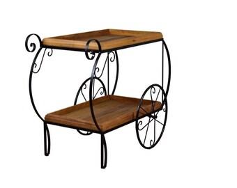 Rustic Bar Cart -  Reclaimed Wood