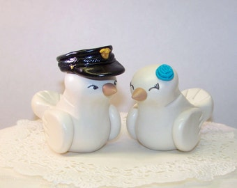 Police Officer Wedding Cake Topper Love Birds Cake Topper- Customizable