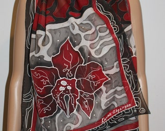 71-17 in Hand painted  scarf,Red black gray long silk scarf, Magnolia,Flowers, gift for mom, mother gift