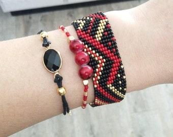 Set set of 3 bangles red black and gold woven beaded Bracelet, minimalist Bracelet round beads and Bracelet minimalist black and gold