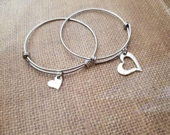 Mother & Daughter Heart Cutout adjustable bangle bracelet SET in SOLID .999 fine silver+poem gift card-box