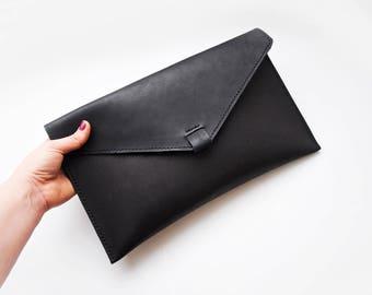 Leather envelope clutch bag, Minimal black clutch