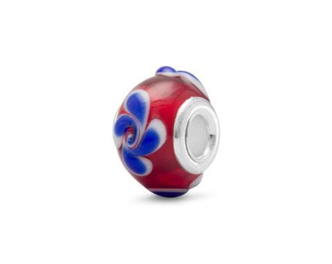 Featured listing image: Red White and Blue Glass Charm Bead Sterling Silver Core Large Hole Flower Floral Swirl