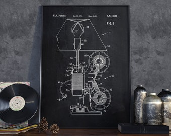 Movie Reel Projector Patent, Movie Reel Poster, Movie Poster, Unique Gift, Office Decor, Home Decor, Projector Poster - DA0046