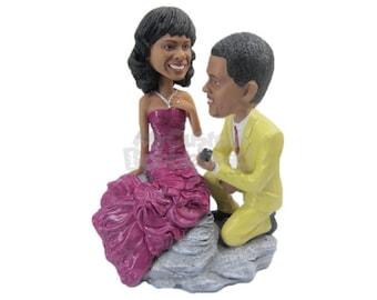 Custom Bobblehead Beach Wedding Proposal, Bridal Party Custom Bobblehead, Personalized Bobblehead