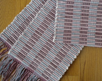 Log Cabin handwoven, hand-dyed Table Runner, Blue, Burgandy, Mauve