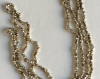 RARE - Antique Metal Cut  Micro Beads - Silver and Bronze