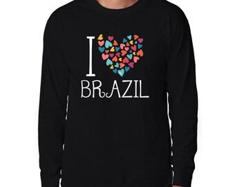 I Love Brazil Colorful Hearts Long Sleeve T-Shirt
