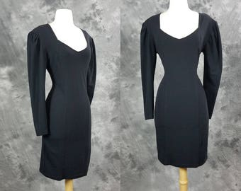 Black cotton body con dress, long sleeve mini dress, Express, medium