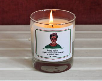 Frida Kahlo scented candle. Dia de los muertos Day of the Dead home decor. candle with Frida Kahlo. Gift idea for Frida fan