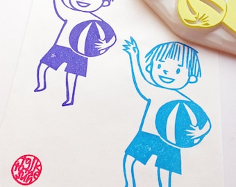 summer boy rubber stamp | beach volleyball | summer swimmer stamp | birthday gift wrapping | diy party props | hand carved by talktothesun