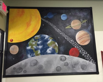 Outer Space Mural, Party Table Backdrop, Space Mural, Murals for Kids, Galaxy Mural, Space Painting, Planet Mural