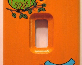 OWLS On ORANGE Single Switch Plate Cover - Hand Painted