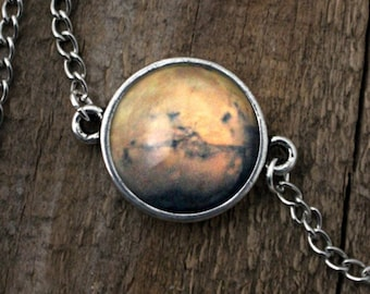 Mars Planet Galaxy Space Bracelet -  Universe Jewelry - Petite Cosmic Bracelet - Outer Space Jewelry Science Wedding Gift - Solar System
