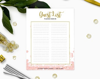 Printable Guest List Sign In-Pink and Gold Bridal Shower Sign in Sheet-Floral Personalized Guest List Template-DIY Bridal Shower Guest book