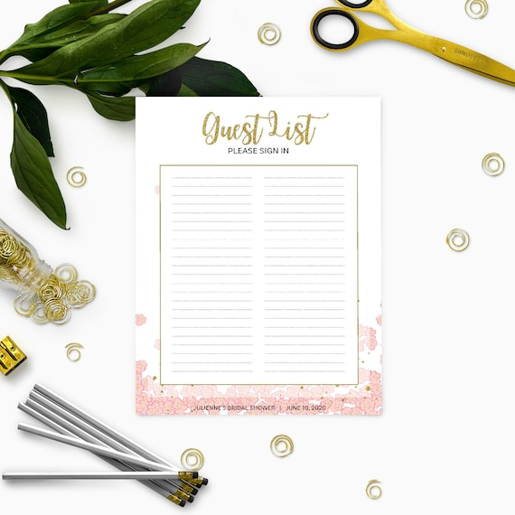 bridal shower guest book template