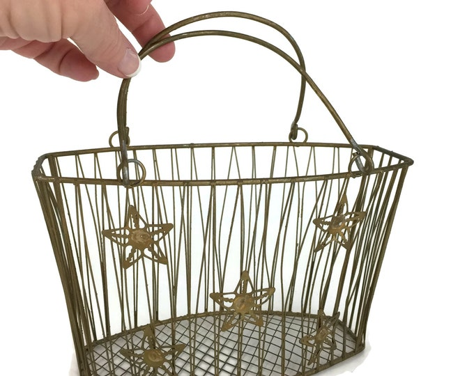 Mid Century Small Gold Wire Basket