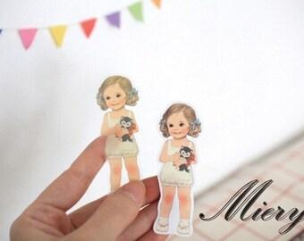 PVC Doll Mate Sticker Set - Deco Sticker - Diary Sticker - 6 sheets in