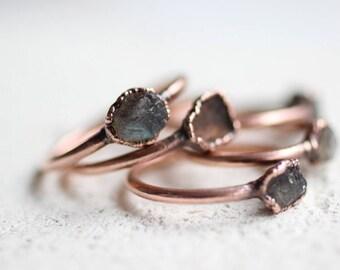 Raw Labradorite Ring Copper Ring Electroformed Ring Electroformed Labradorite Copper Jewelry Labradorite