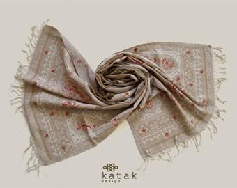 Embroidered wool shawl, wool woven blanket scarf, lightweight shawl, beige shawl, warm winter shawl, gift for woman