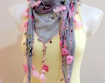 Oya crochet scarf Cotton scarf Flower Turkish oya scarf Crochet scarf Women accessories Bohemian Boho Spring Summer accessories Gift Boho