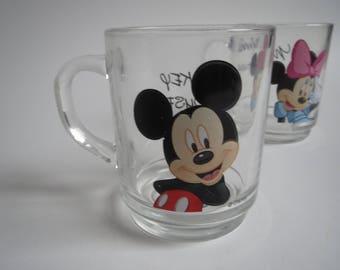 Walt Disney mugs Mickey Mouse and Minnie Mouse, vintage Walt Disney glass mugs