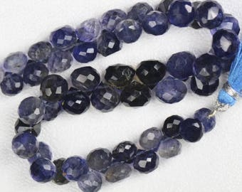 8 inch long strand faceted fancy Iolite briolette beads  7 x 7 -- 8 x 9 mm approx