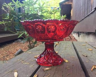 Glass Fruit Bowl, Red Glass, Pedestal Bowl, Red Glass Bowl,Fruit Bowl