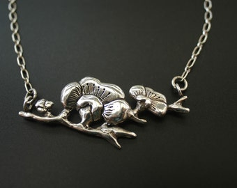 Asian Mum Floral Sterling Necklace