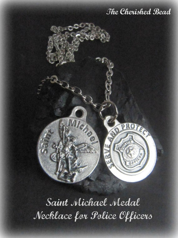Catholic saint michael medal necklace for police officers catholic saint michael medal necklace for police officers reversible stainless steel chain mozeypictures Gallery