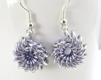 Tiny Whirlybird Chainmaille Earrings - Lavender & Silver Chainmaille Earrings - Ready to Ship!