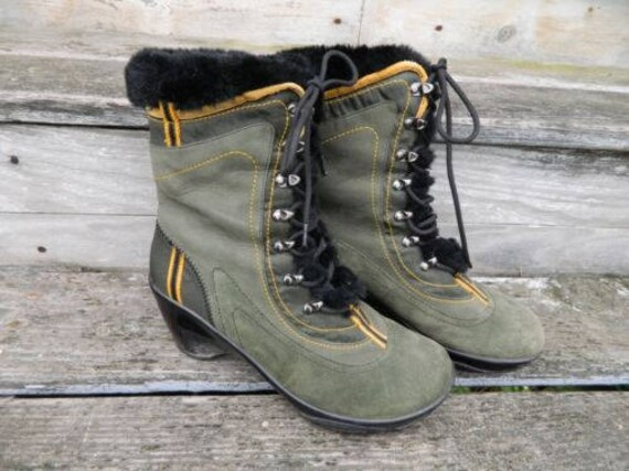 J-41 Pacific Boot Wedge Heel Fur-Lined -8- Olive Green Suede