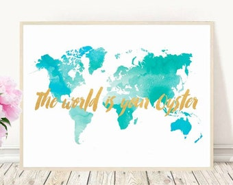 World Map, The World Is Your Oyster, Blue World Map, Printable Art, Nursery Print, Nursery Art, Digital Download, Wall Art