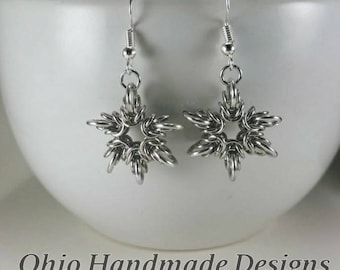 Chainmaille Six Pointed Star Earrings