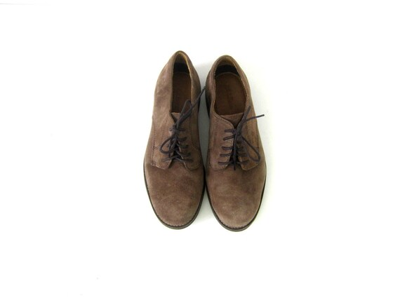 Leather Oxfords Suede Loafers Lace Up Oxfords Mocha Brown Suede Shoes Preppy Classic Derby Shoes Vintage LL Bean Oxfords mens 7