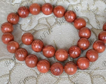Charm 14mm Red Sponge coral Round beads,Coral Beads Coral nugget Beads Full One Strand 16inch