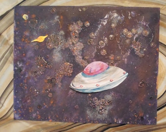 Space Ship. Flying Saucer. Visitor. Sunny Side up. Starry Night. Sci Fi