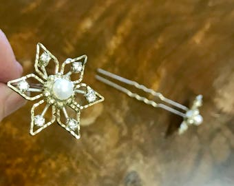 Diamante and faux pearl vintage hair jewels