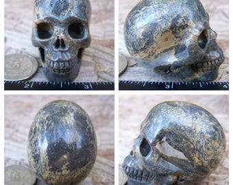 "1.99"" Unknown Dendritic Stone Skull 3.3oz 90.2g Realistic Hand Carved Handmade Crystal Healing Magick Metaphysical Reiki Wicca Brown SK944"