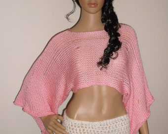Hand Knit Hobo Sweater, Crop Top, Knit Shrug, Summer Shrug, Distressed Knit Crop Top, Shrug loose knit weave, Knit open loose stitch in PINK
