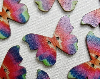 """Rainbow Butterfly: 1-1/8"""" (28mm) Wooden Buttons - Set of 7 New/Unused Matching Buttons"""