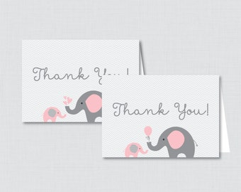 Printable Elephant Baby Shower Thank You Card - Printable Instant Download - Pink and Gray Chevron Elephant Thank You Card - Elephant 0024-P