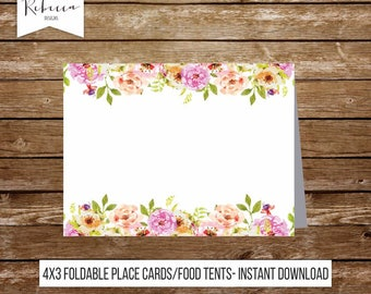 Wedding food tents wedding place cards floral place cards printable food tents printable food tents bridal shower food dinner place card 237