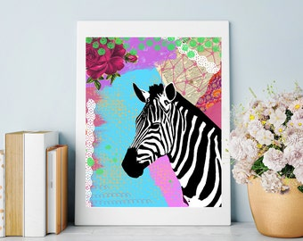 Zebra Art Print - Colorful Mixed Media Collage - Animal Painting - Home Decor - Zebra Poster