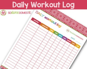 """Daily Workout Log Printable Planner - Letter Size 8.5"""" x 11"""""""