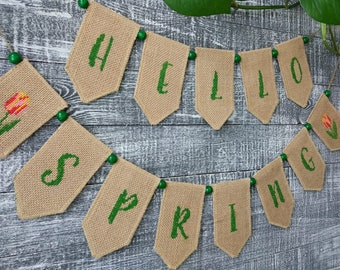Hello Spring banner, Spring decorations, Embroidered Spring banner, Easter banner, Spring garland.
