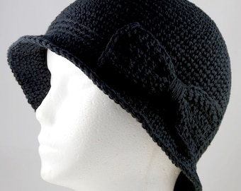 Cloche Hat in Black for Cancer Patients - Chemo Hat/ Cancer Hat/Chemo Cap/Cancer Cap