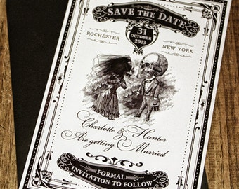 "Halloween Wedding Invitation Printable Skeletons in Love Save the Date 5""x 7"" Digital File"