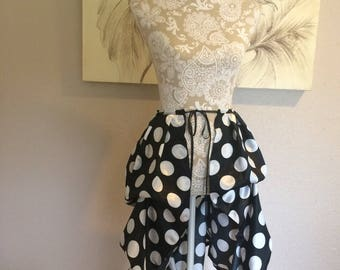Black and White Polkadot Satin Tie On Bustle Skirt