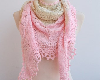 RESERVED Ecru and pink Hand knitted shawl wedding bridal lovely handmade lace chic elegant scarf stole